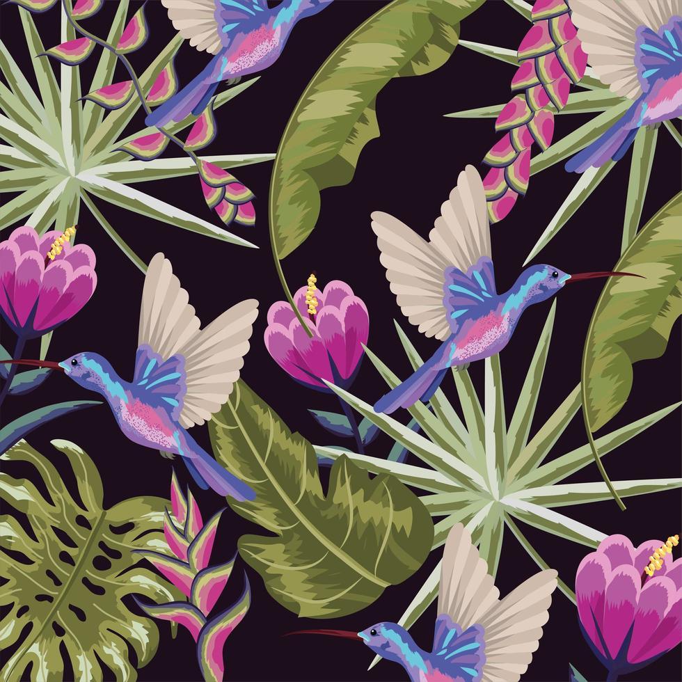 colibris avec fond de fleurs et feuilles vecteur