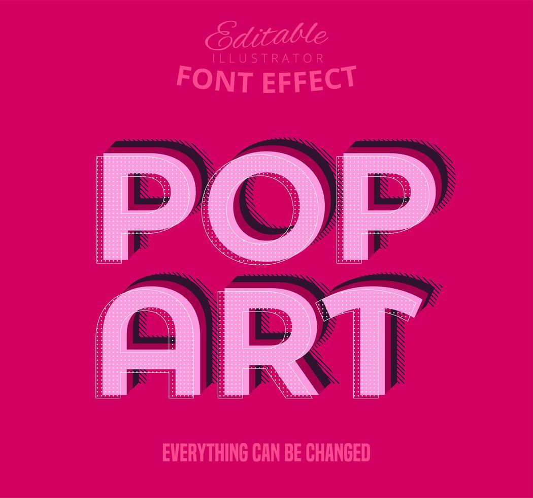 Efeito de fonte editável de texto pop art