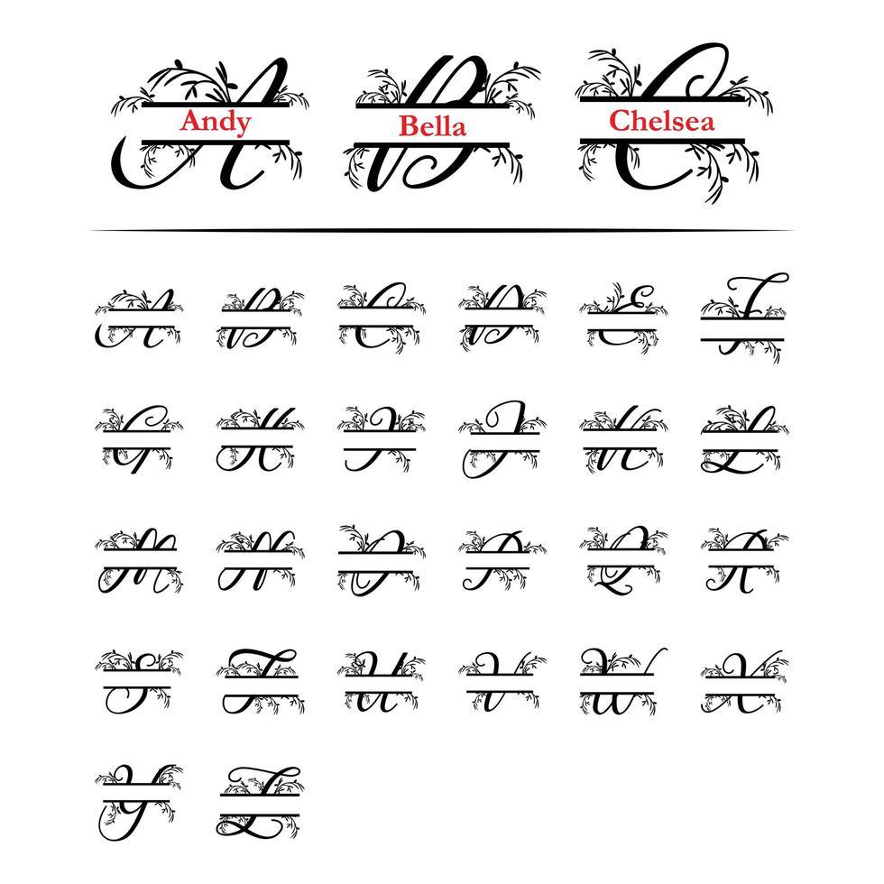 Conjunto de letra dividida monograma inicial planta decorativa vector