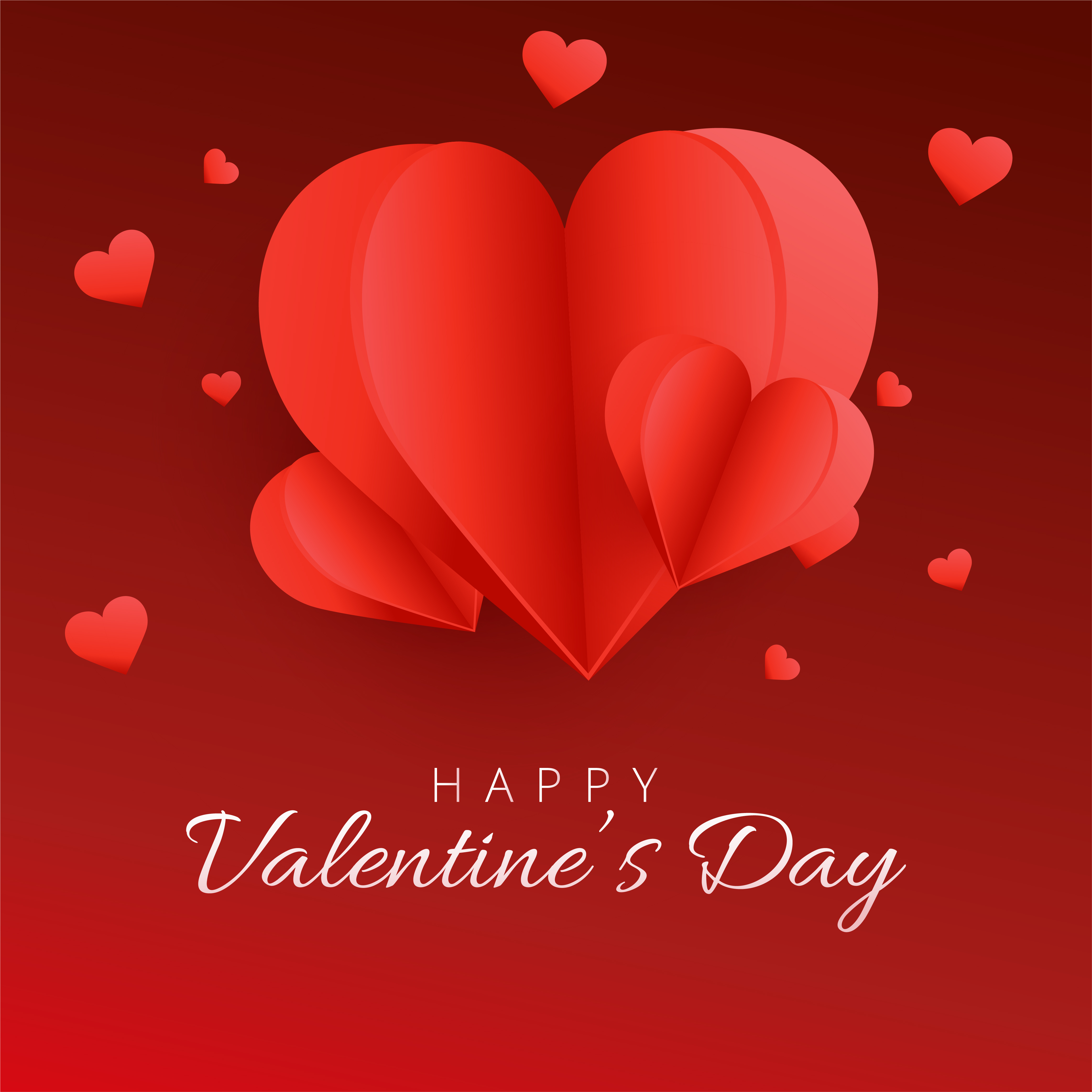 Happy Valentine S Day Card In Paper Art Style Download Free Vectors Clipart Graphics Vector Art