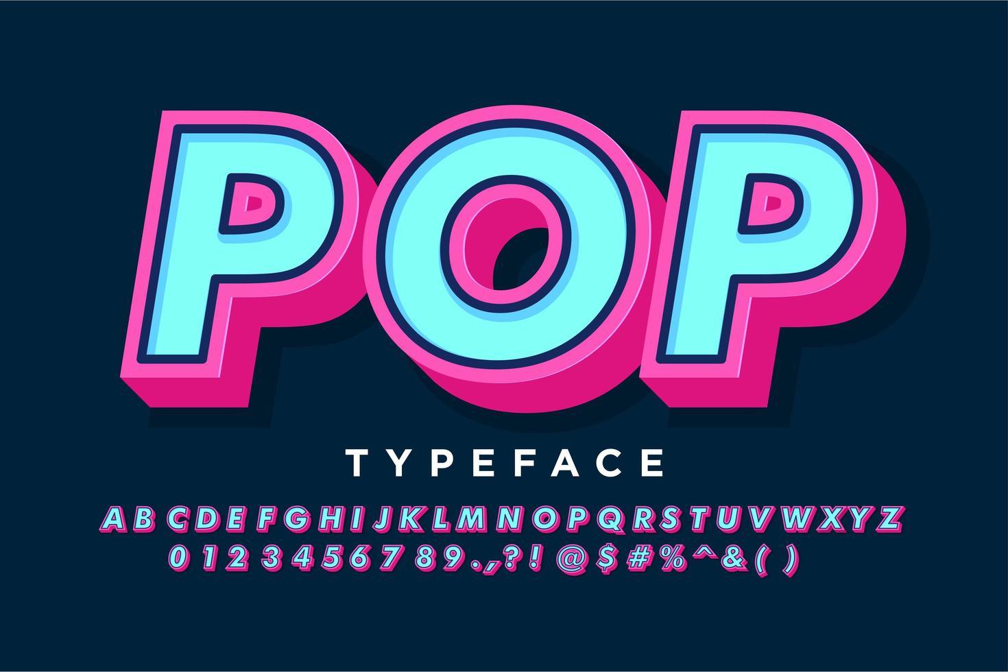 Alphabet pop art audacieux fort pour bannière vintage vecteur