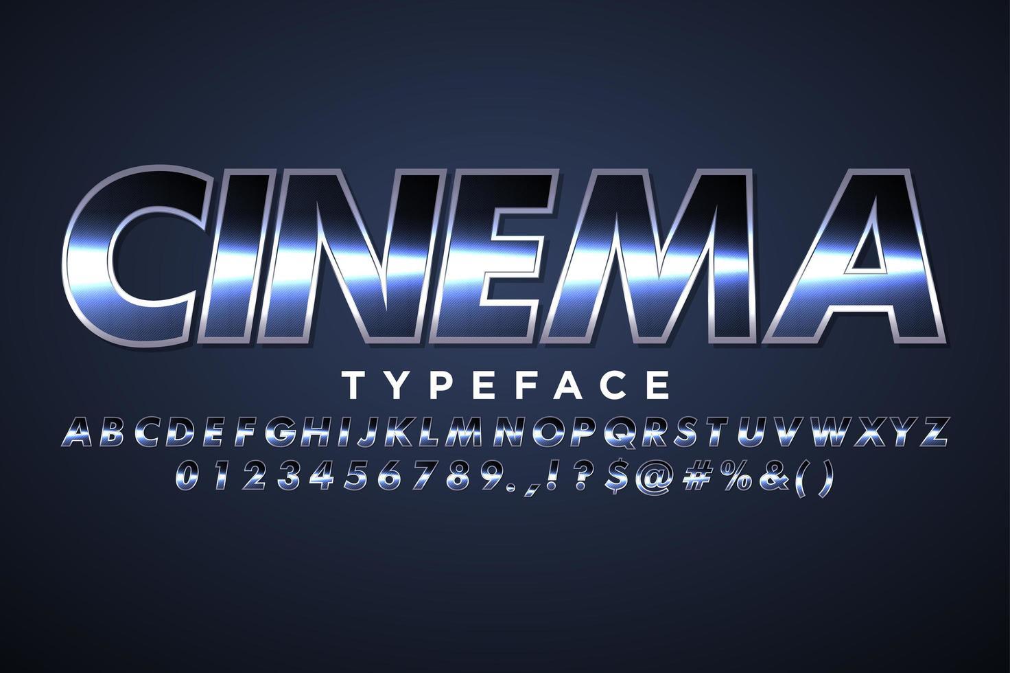 Alfabeto moderno con efecto cinematográfico para banner de película vector