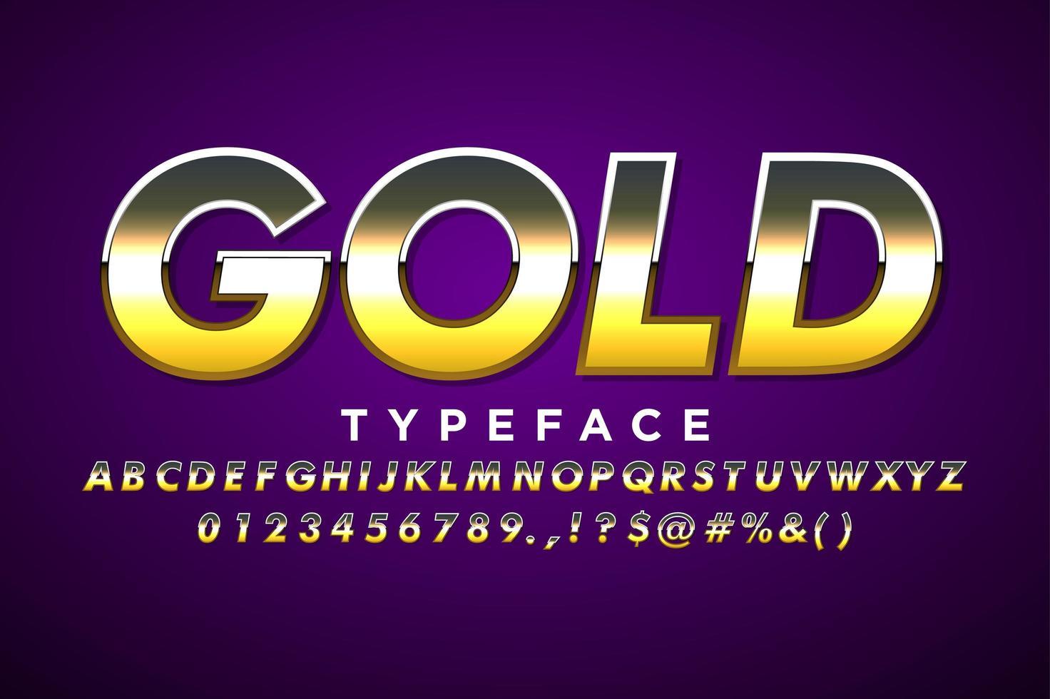 Alfabeto moderno em estilo metálico dourado