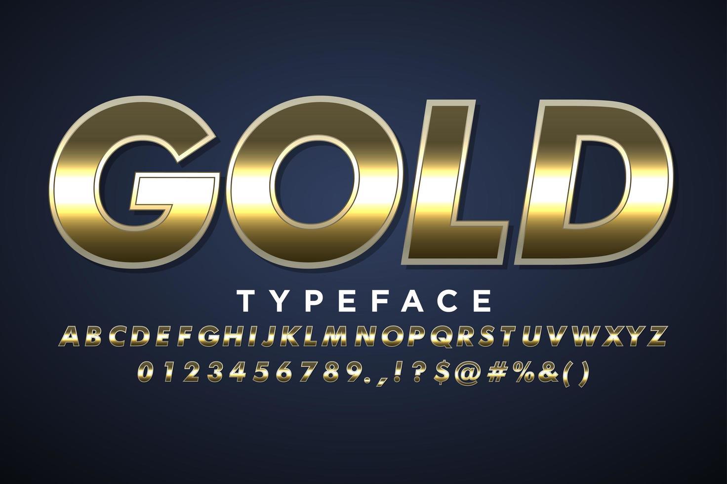 Stile alfabeto metallico oro