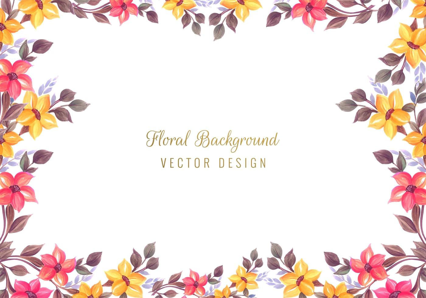fundo decorativo colorido cartão floral frame vetor