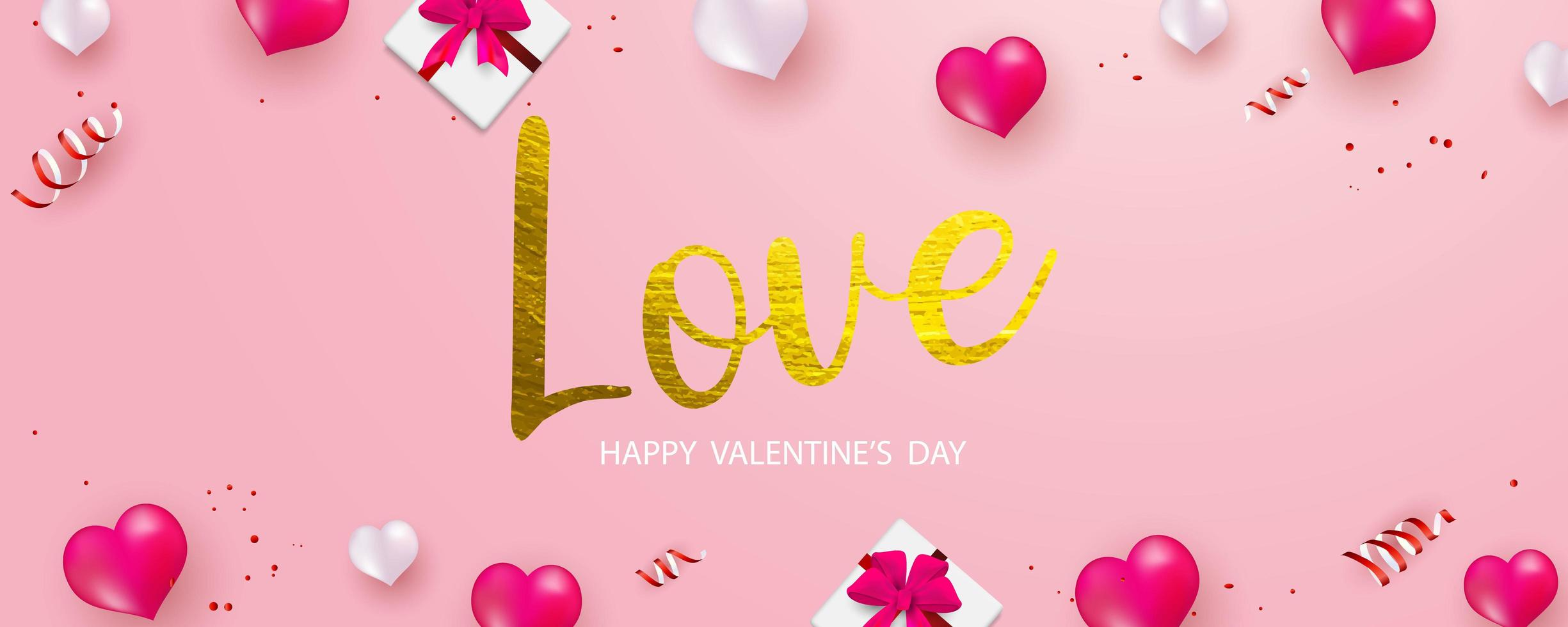Banner di San Valentino con oro amore testo, confezione regalo, nastri rossi e palloncini cuore
