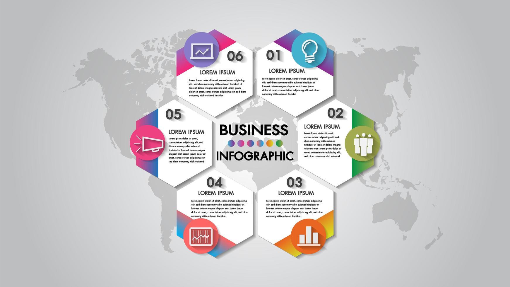 Diagrama de organización de ilustración de vector de negocio de 6 pasos de infografía