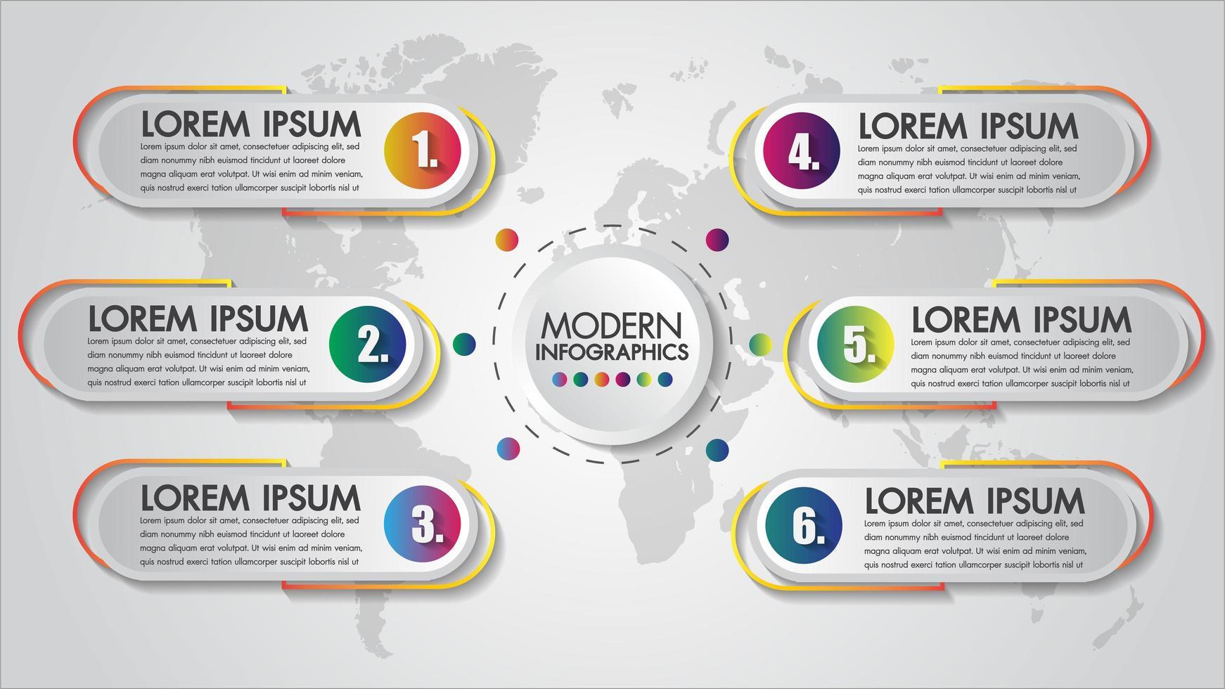 Diseño de negocios colorido de 6 pasos de infografía vector