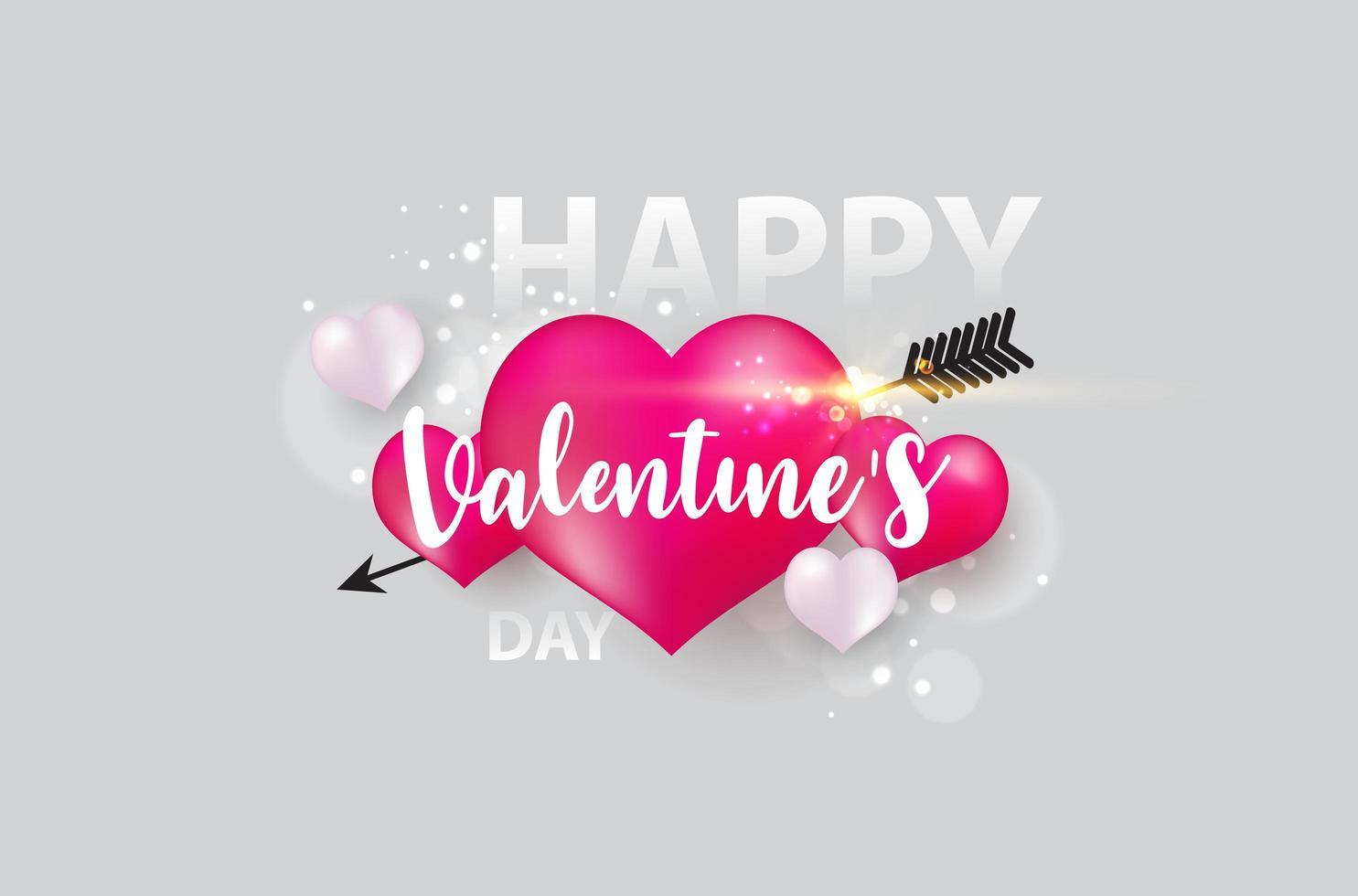 Banner de San Valentín con corazones, flechas y destellos vector