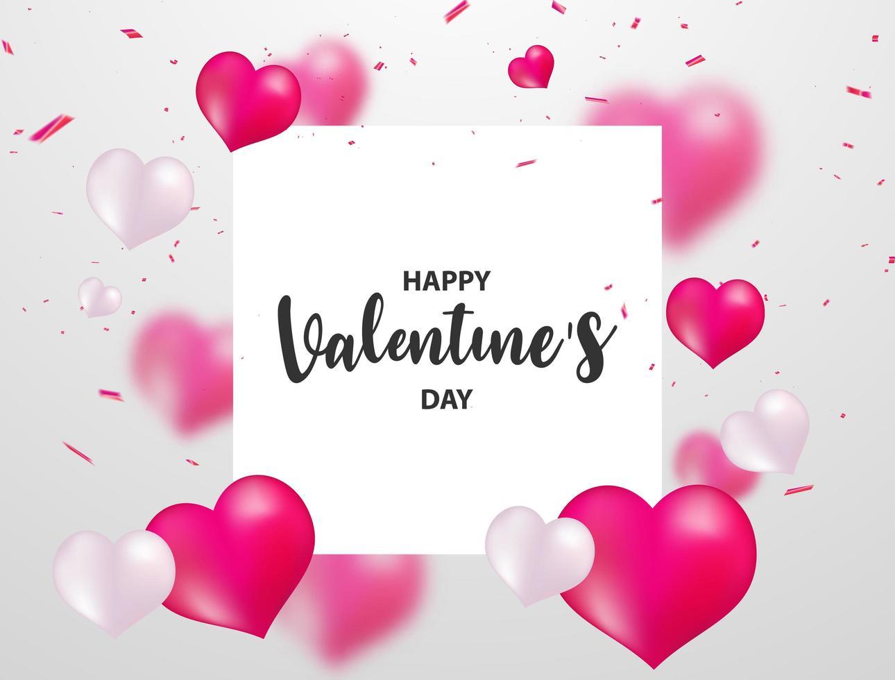 Banner de San Valentín con confeti, globos de corazón y marco blanco para texto