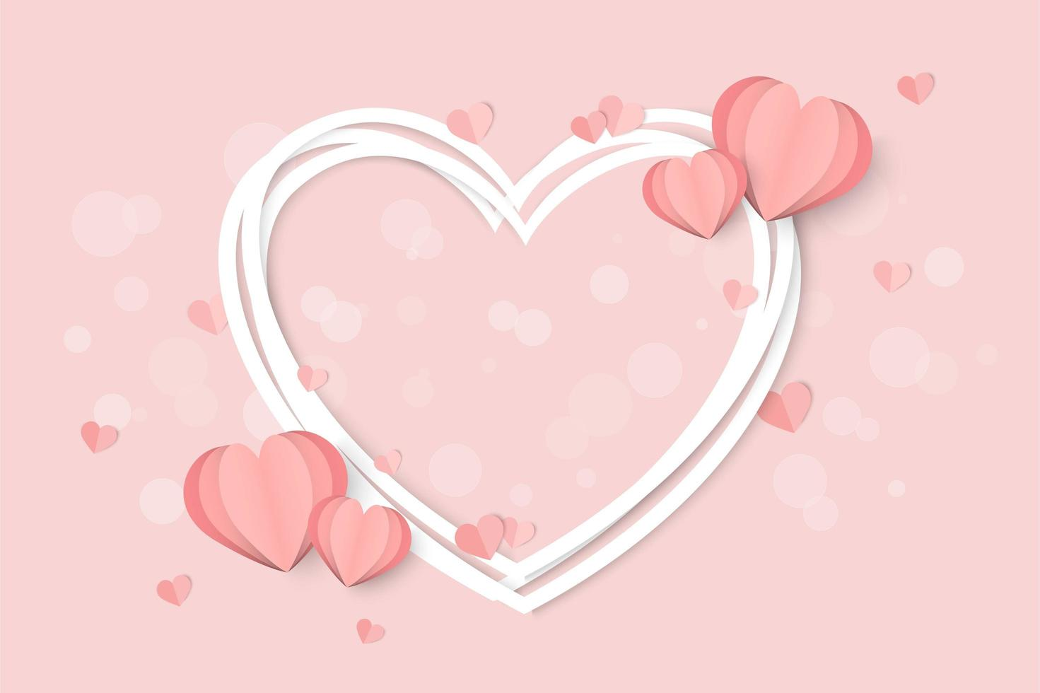 Valentines day pink with white heart frame and heart shapes vector