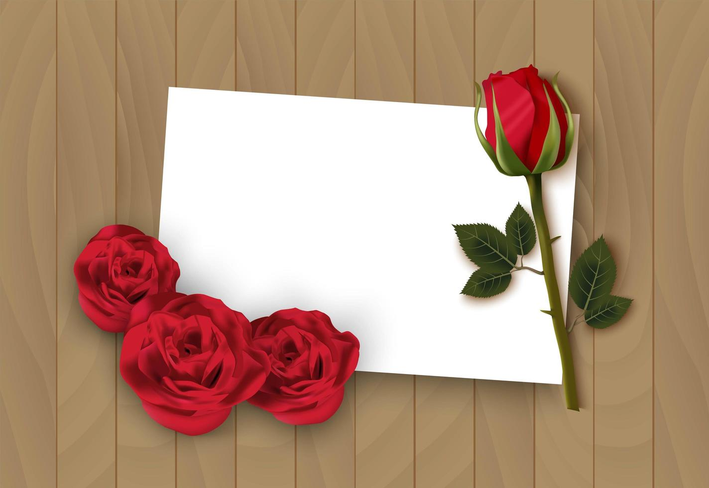 Valentines day wooden background with rose and white paper