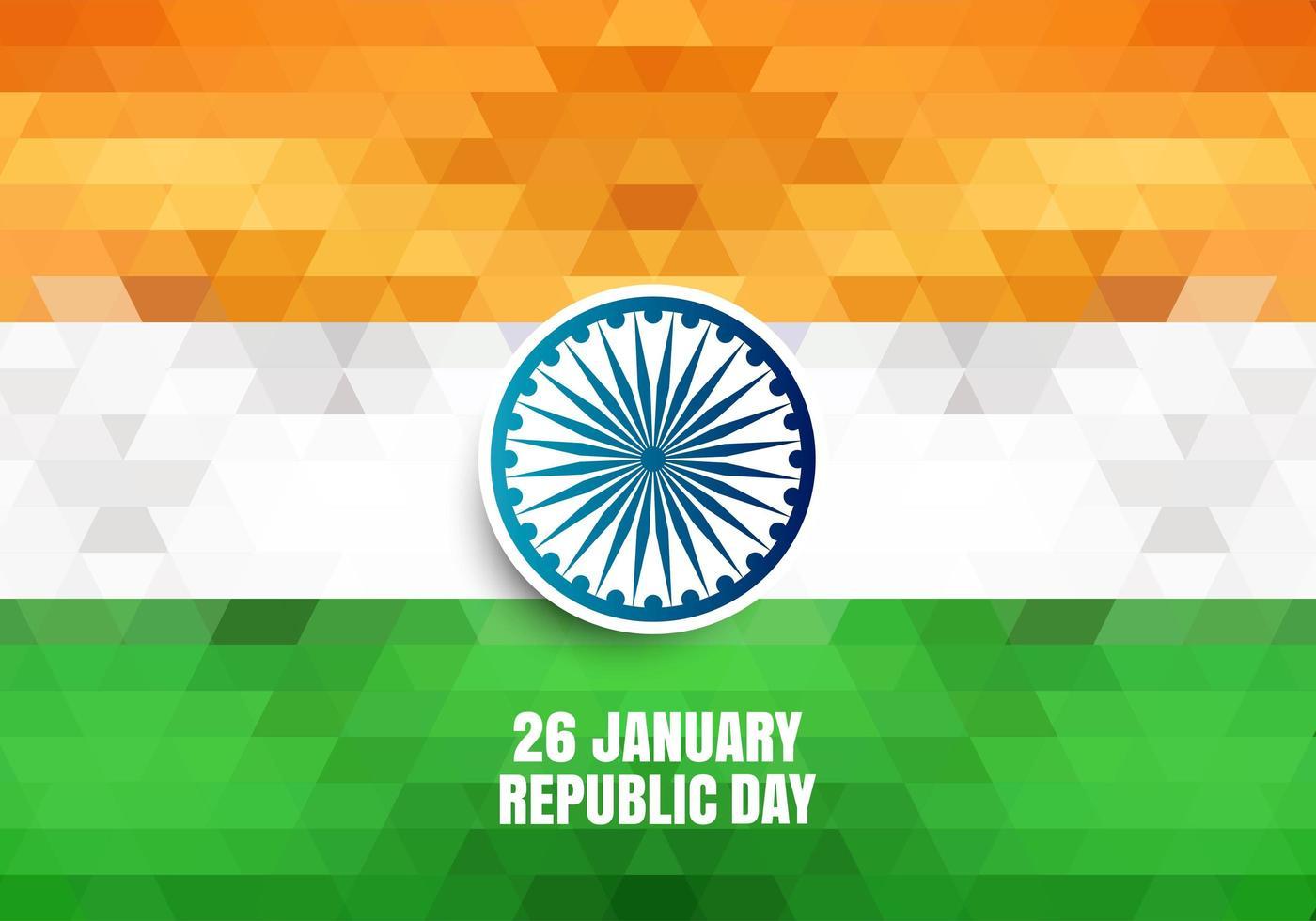 Fondo geométrico del día de la República de la India vector