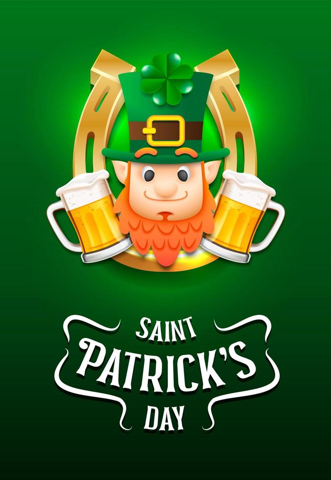 Cartel del feliz día de San Patricio con duende y cerveza vector
