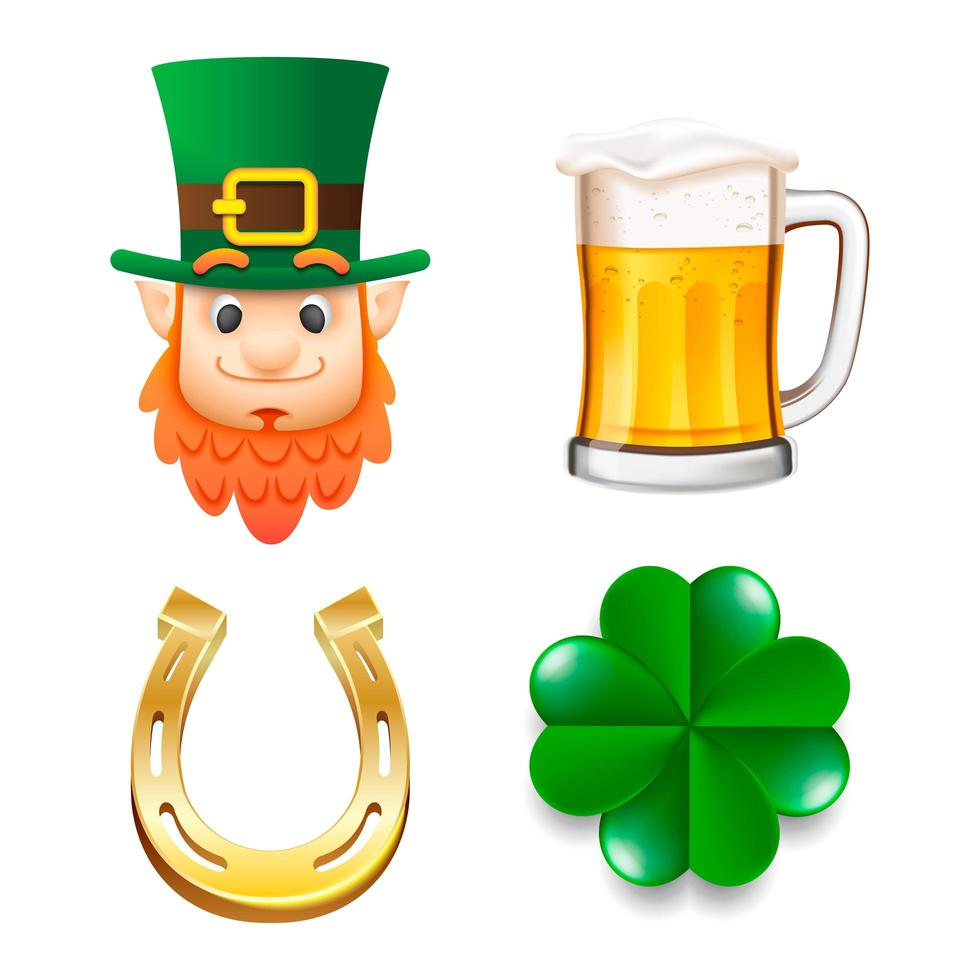 Happy Saint Patrick's Day icon set vector