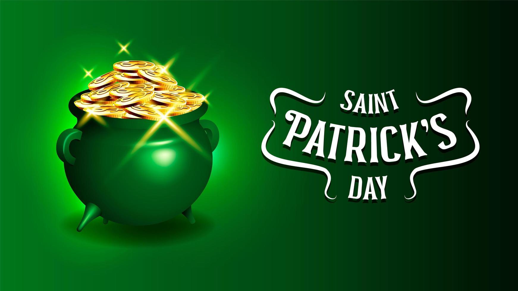 Celebrando el cartel del Día de San Patricio con caldero de monedas de oro vector