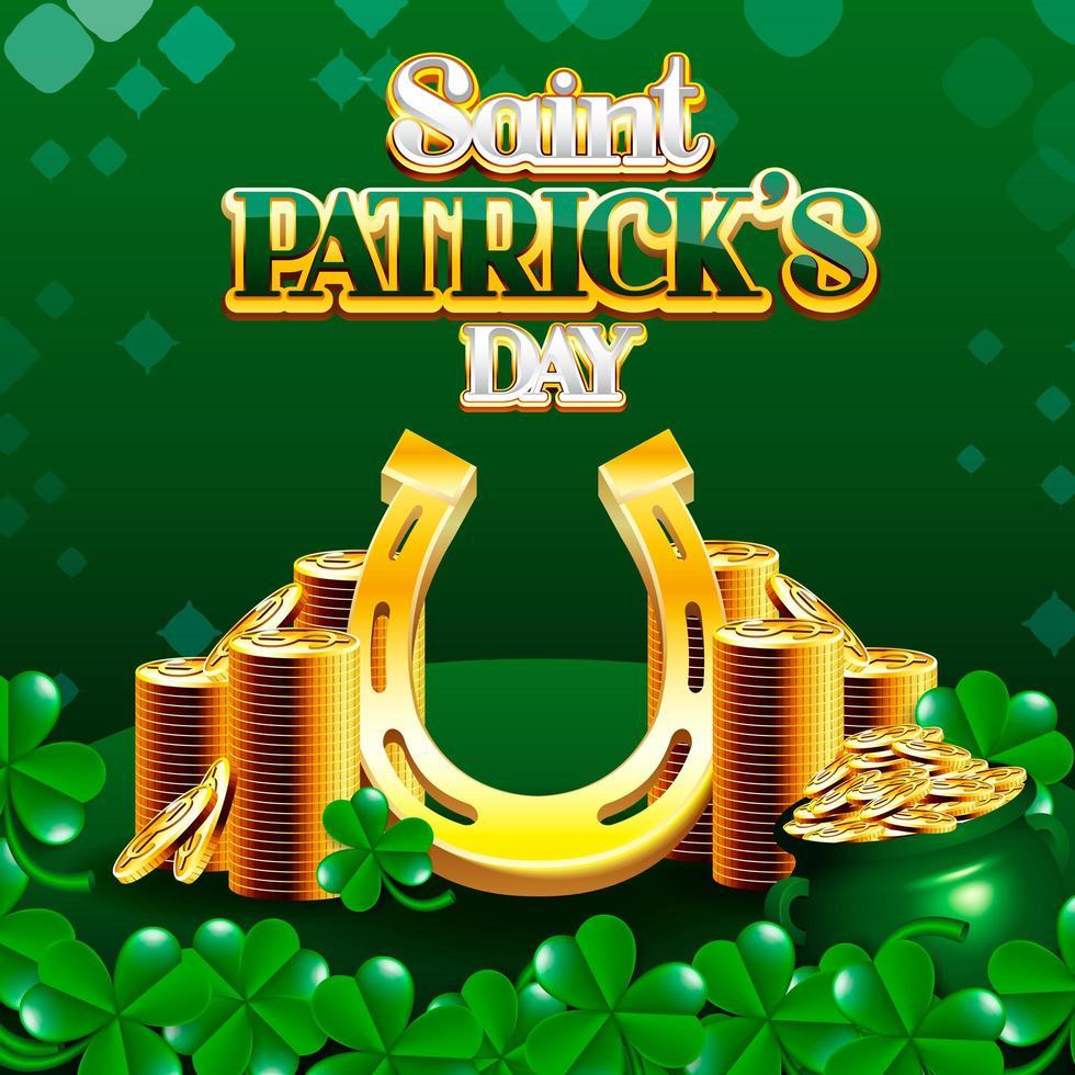 Saint Patrick's Day Stack med gyllene mynt och Lucky hästsko med shamrocks