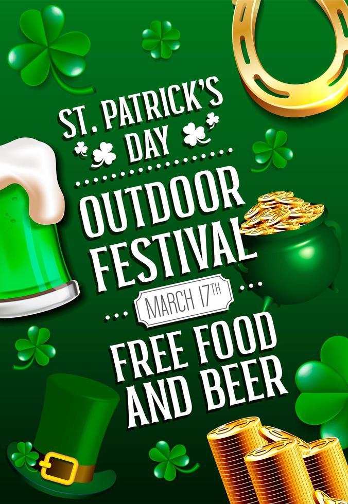 Cartel del día de san patricio con cerveza verde, caldero, herradura y monedas vector