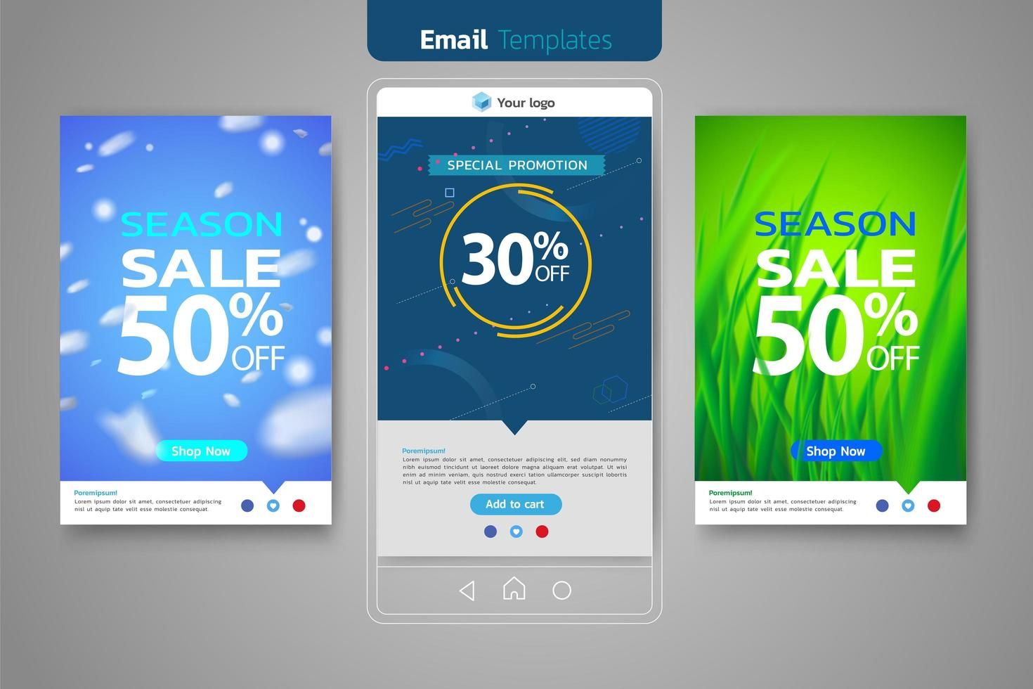 Email sales set for social media template vector