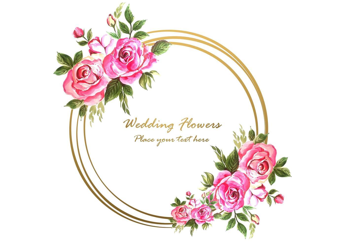 Anniversario di matrimonio decorativo con cornice floreale circolare per biglietto di auguri vettore