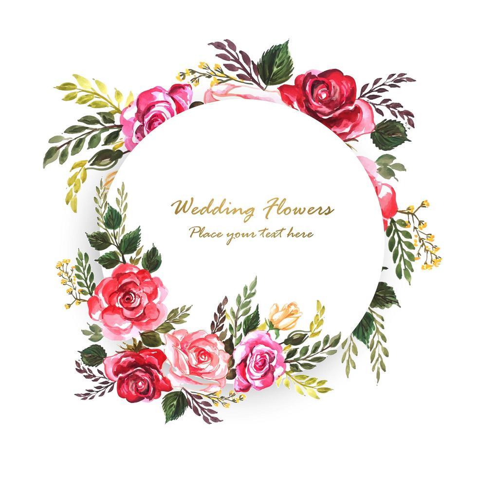 Mooie bruiloft decoratieve bloemen rond frame met ruimte voor tekst