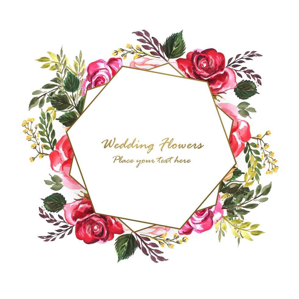 Invitation de mariage avec des fleurs décoratives derrière un cadre géométrique vecteur