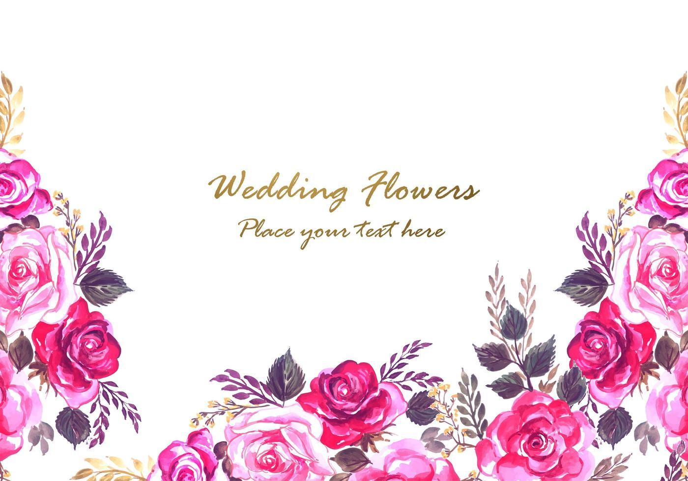 Cornice floreale rosa e viola decorativo bellissimo matrimonio vettore