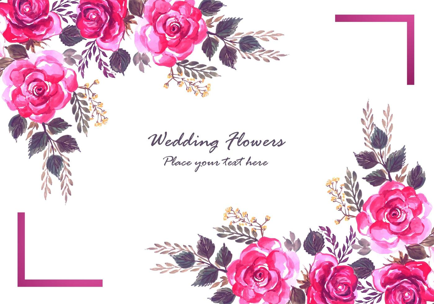 Decorative colorful flowers and purple frame card vector