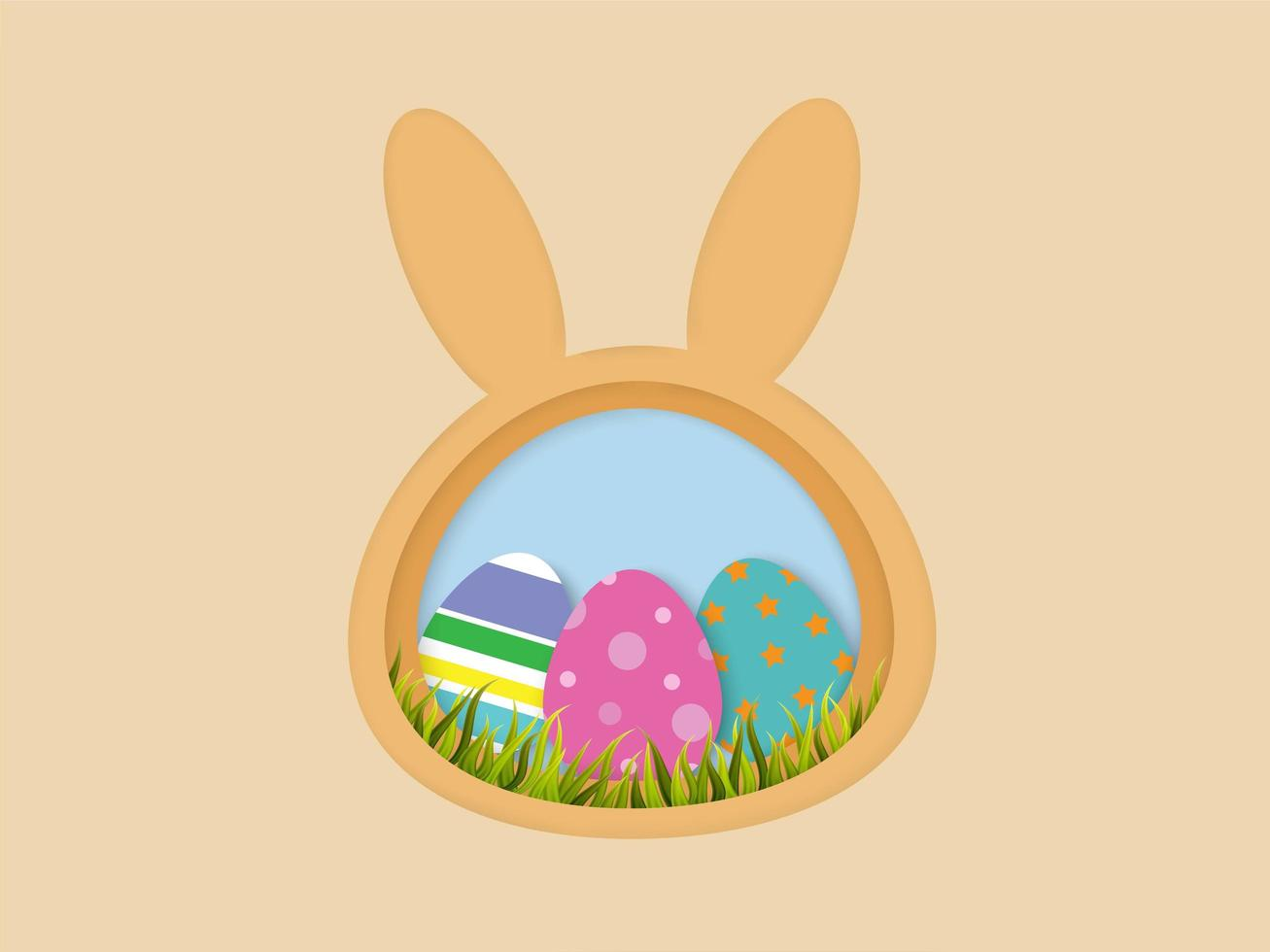 Paper cut style Easter eggs and grass in bunny shape frame vector