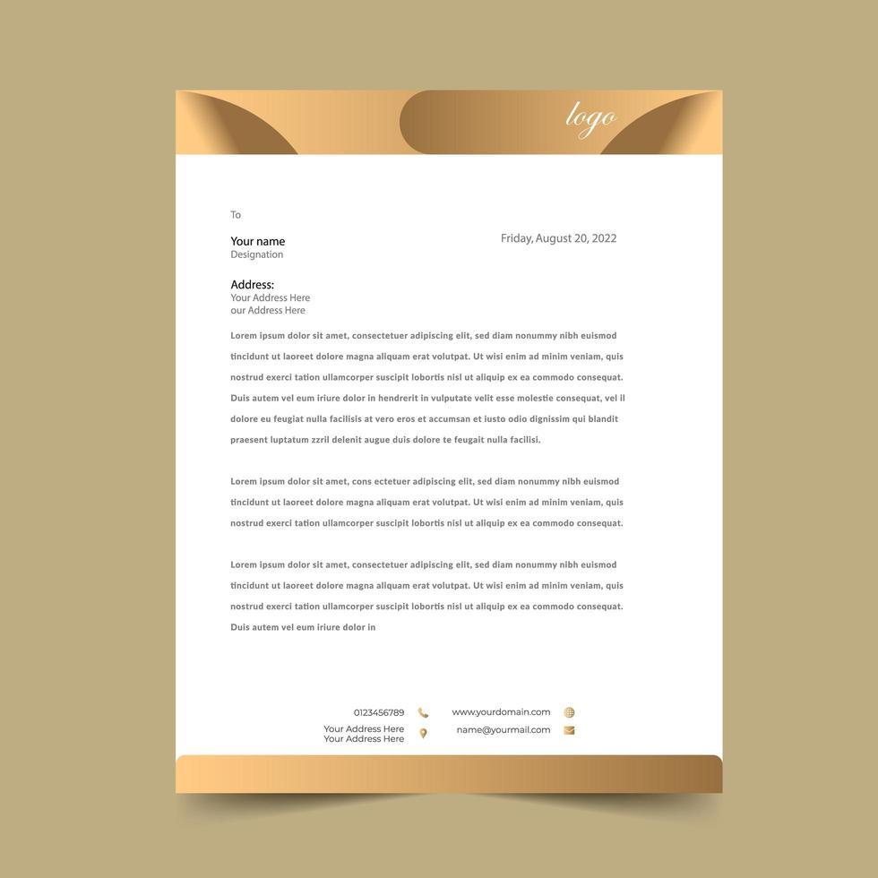 Plantilla de diseño de papel con membrete dorado vector