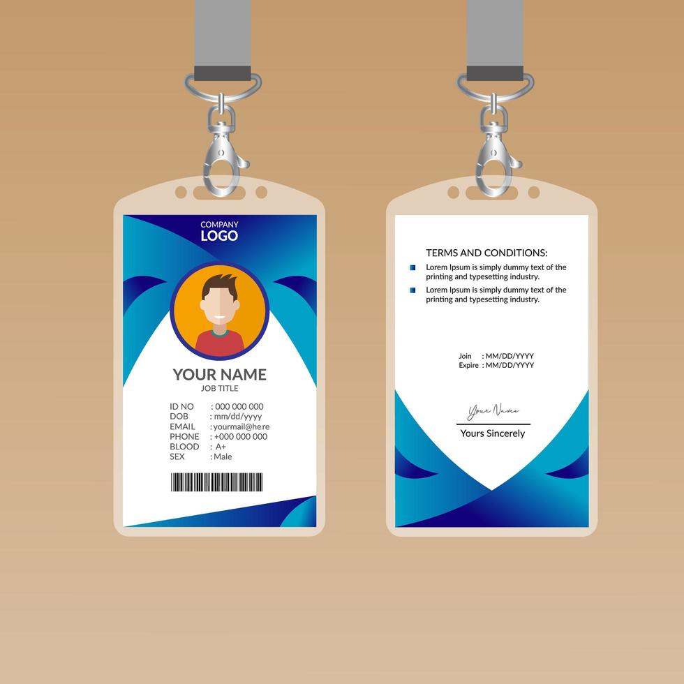 Curved Blue ID Card Design Template - Download Free Vectors, Clipart  Graphics & Vector Art