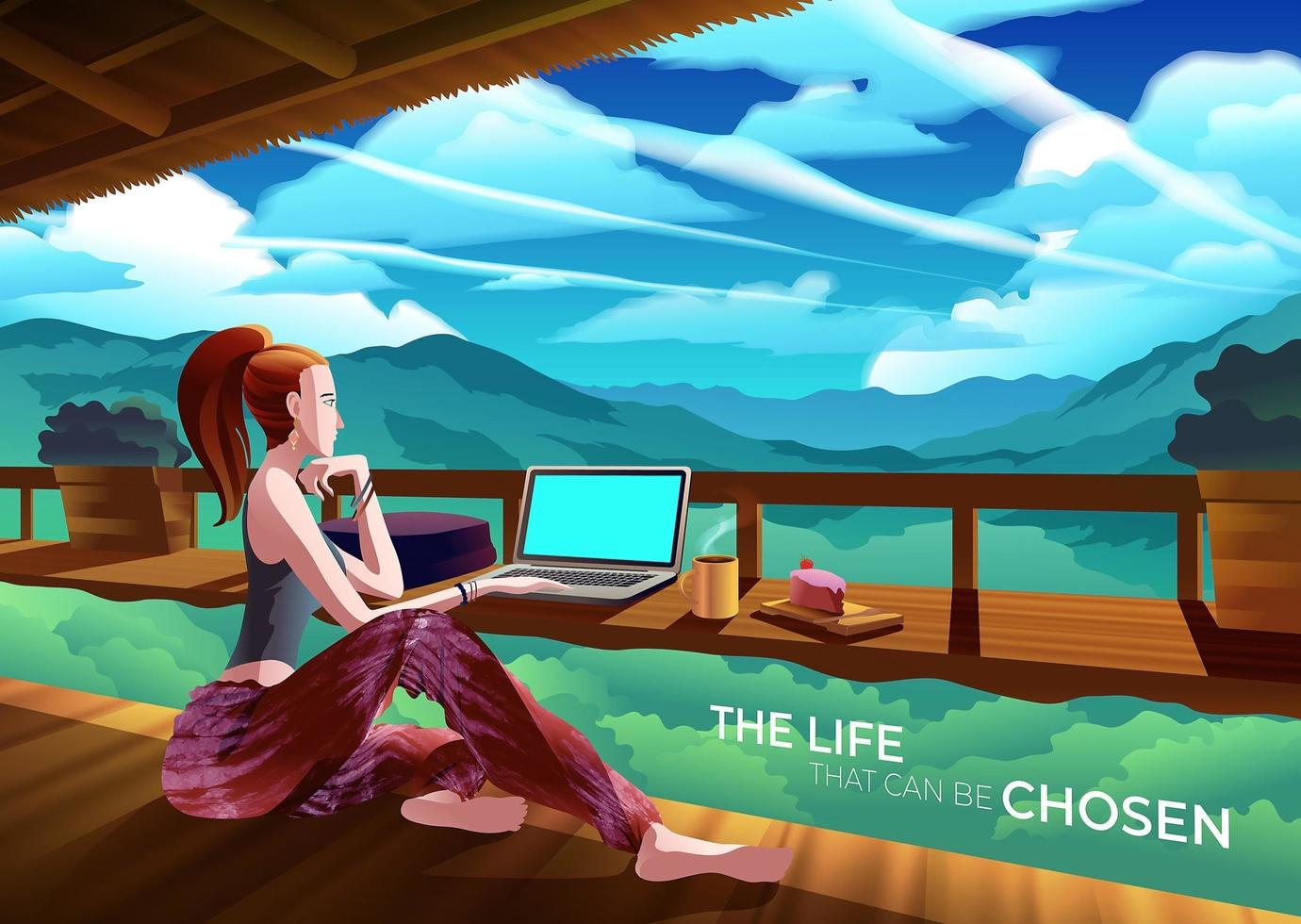Femme, fonctionnement, café, falaise, montagne, paysage vecteur