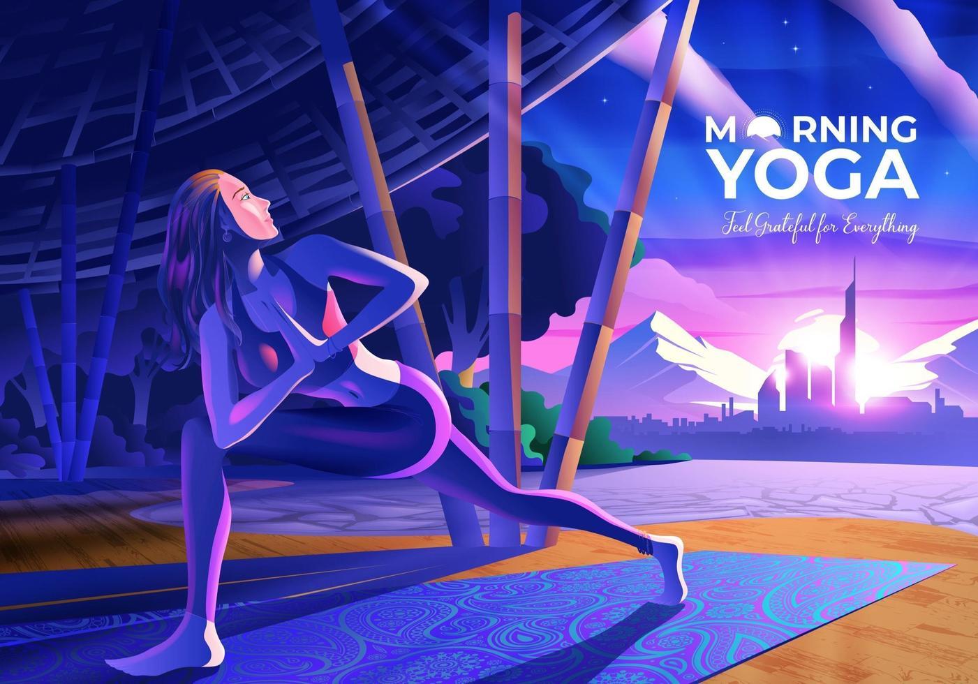 Mujer haciendo yoga dentro del pabellón de yoga con vistas a la ciudad por la mañana vector