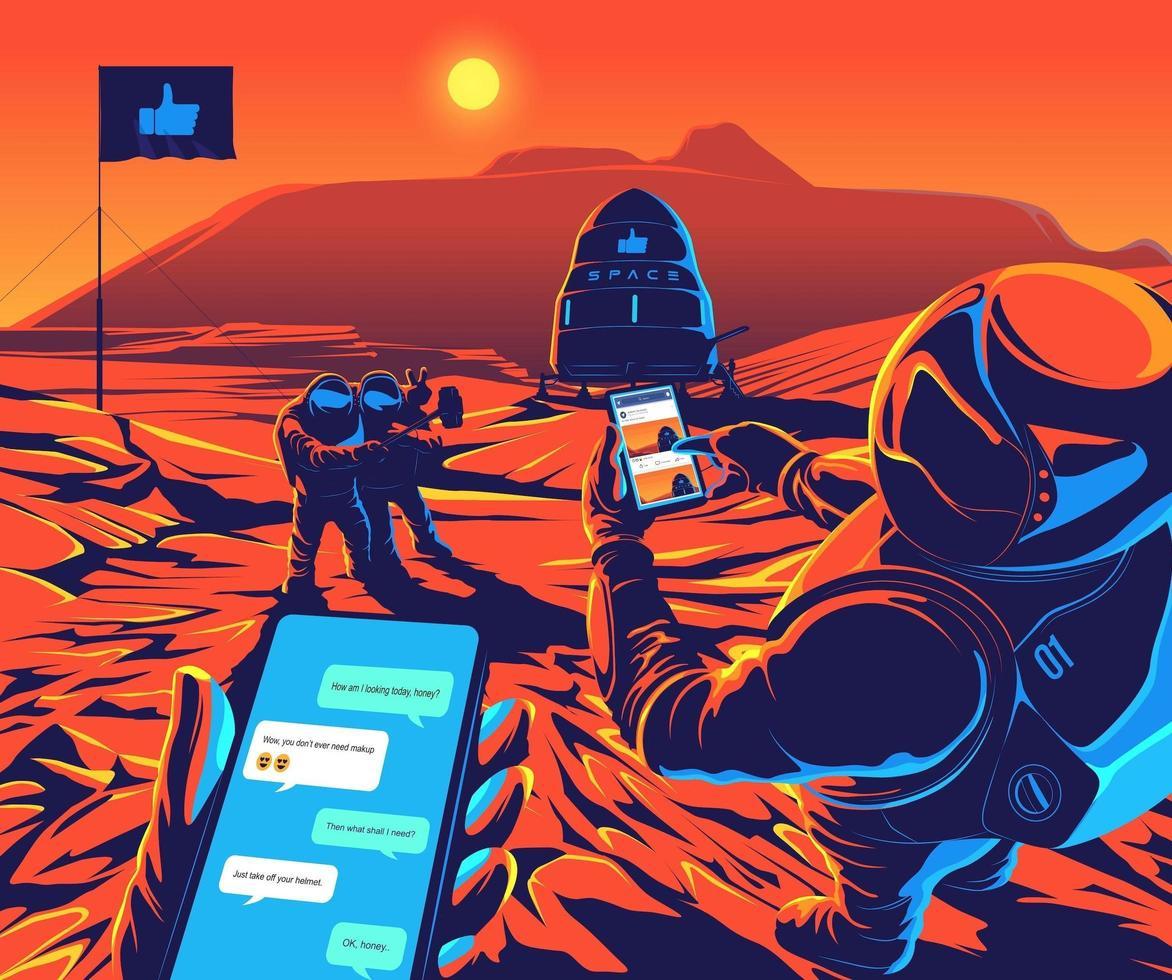 Astronauten landeten auf dem Mars, spielten ein soziales Netzwerk und machten ein Selfie vektor