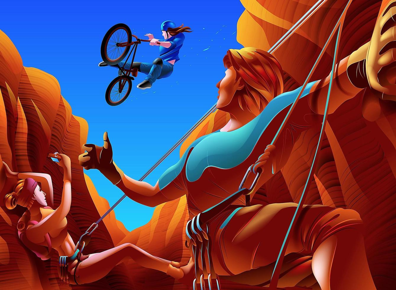 Couple climbing in between a Canyon groove and cyclist jumping across vector