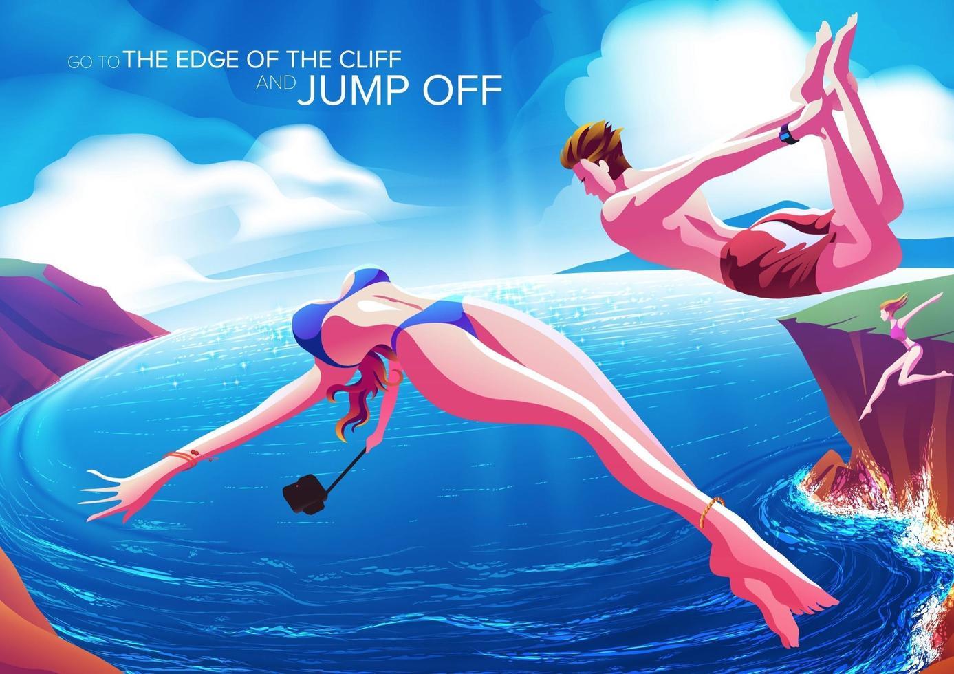 Couple, sauter, falaise, océan, beau, jour vecteur