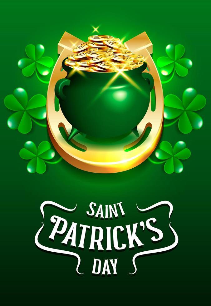 Feliz pote de monedas de duende del día de San Patricio vector