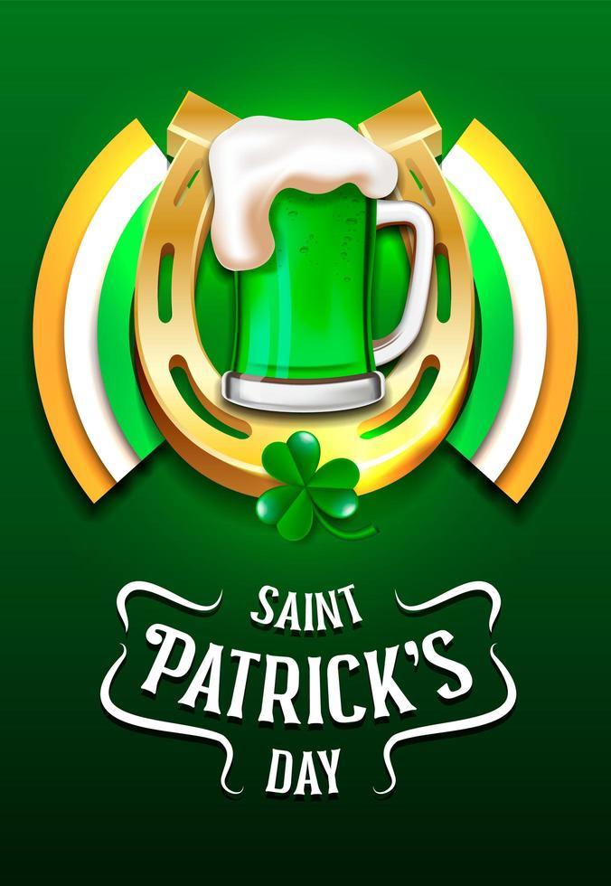 Feliz plantilla del día de San Patricio con cerveza y herradura vector