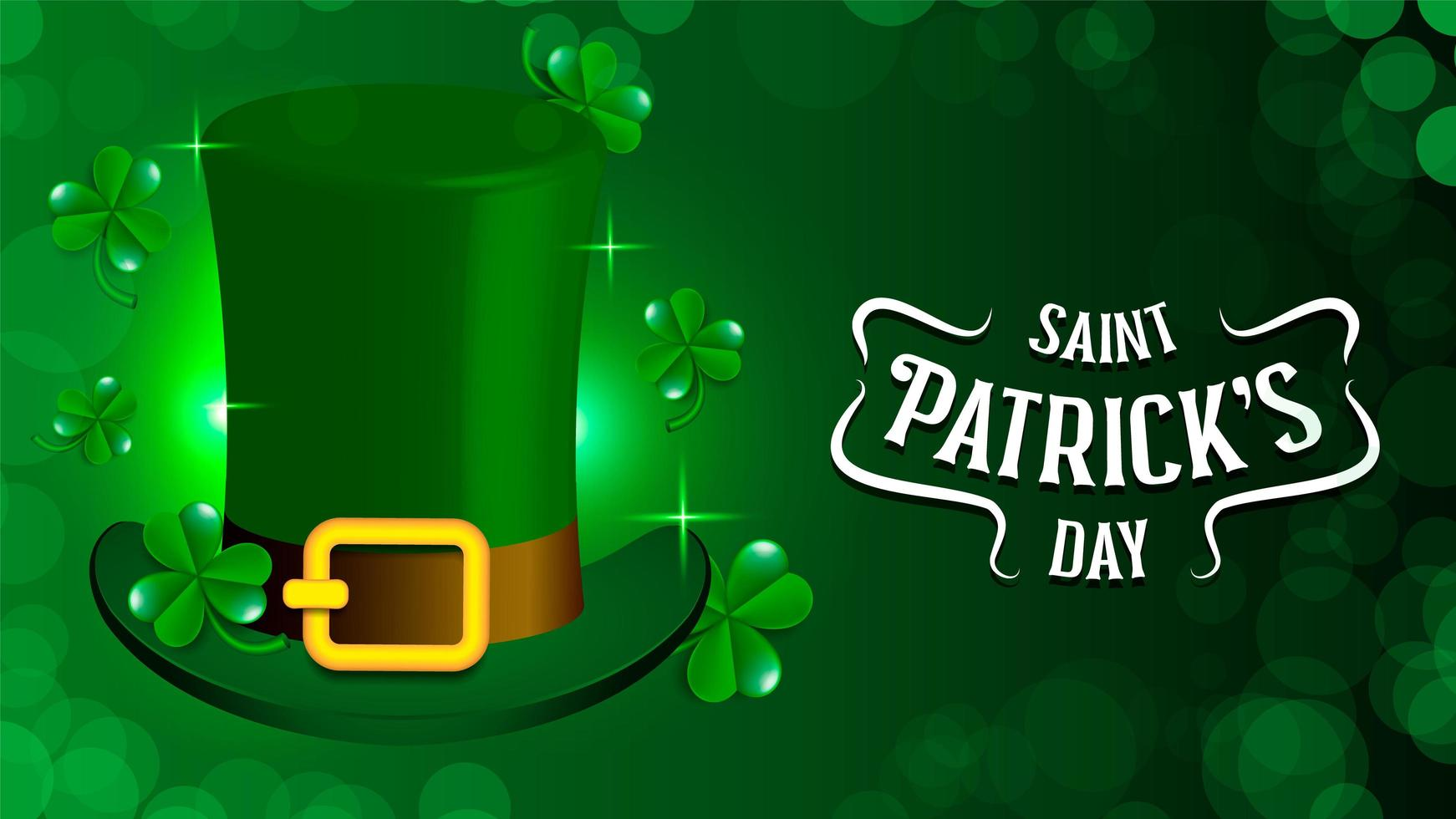 St. Patrick Holiday Theme With Green Hat vector
