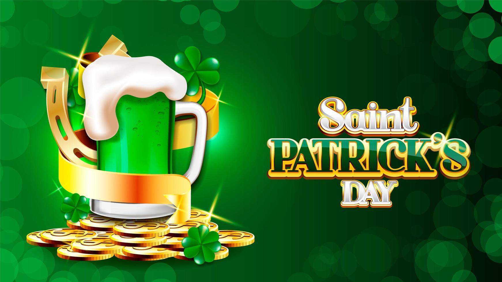 Manifesto del giorno di San Patrizio con nastro e birra verde vettore