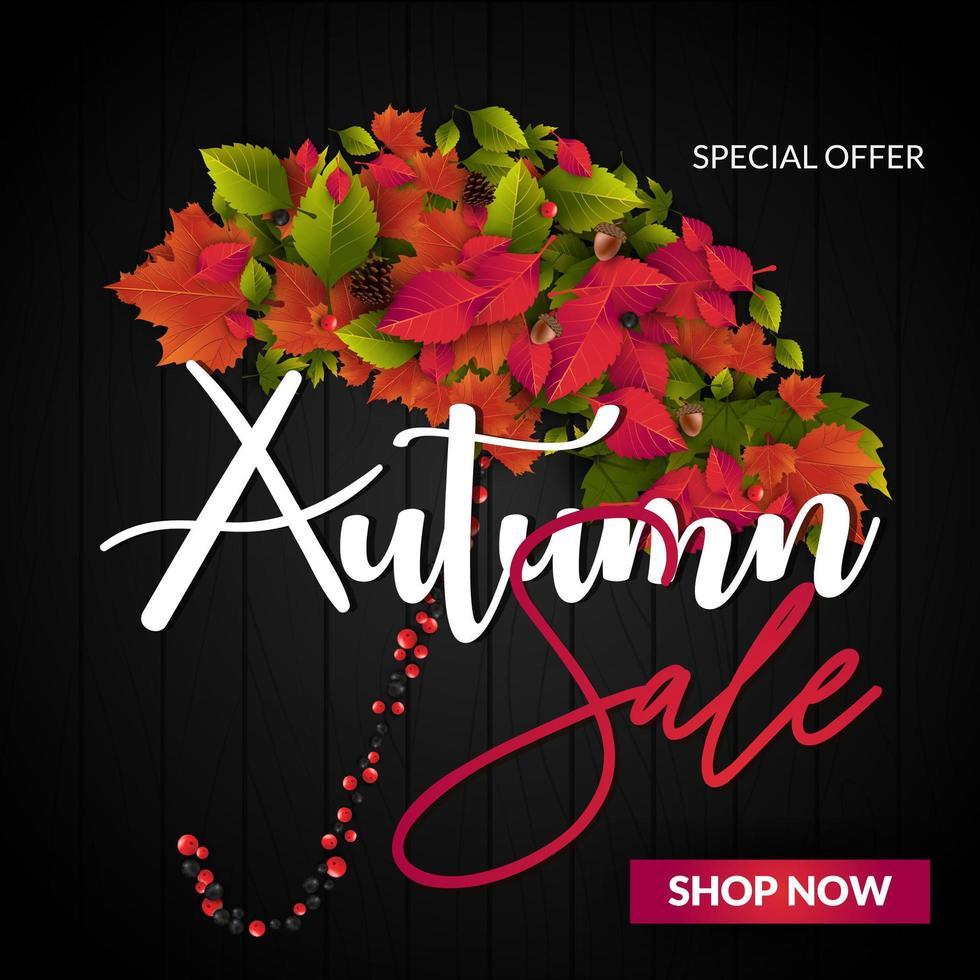 Venta de otoño con paraguas de hojas vector
