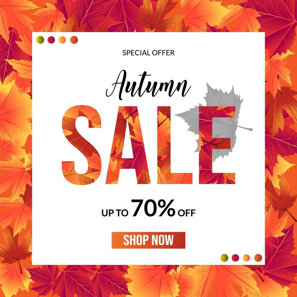 Fondo de hoja de venta otoño con cuadrado blanco para texto vector