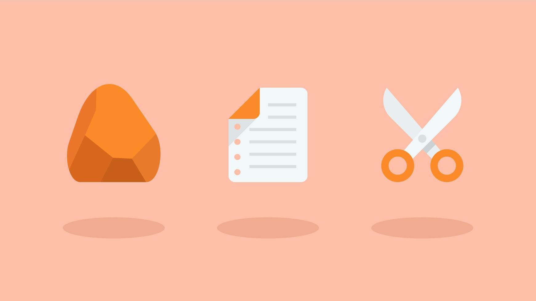 rock paper scissors flat icons vetor