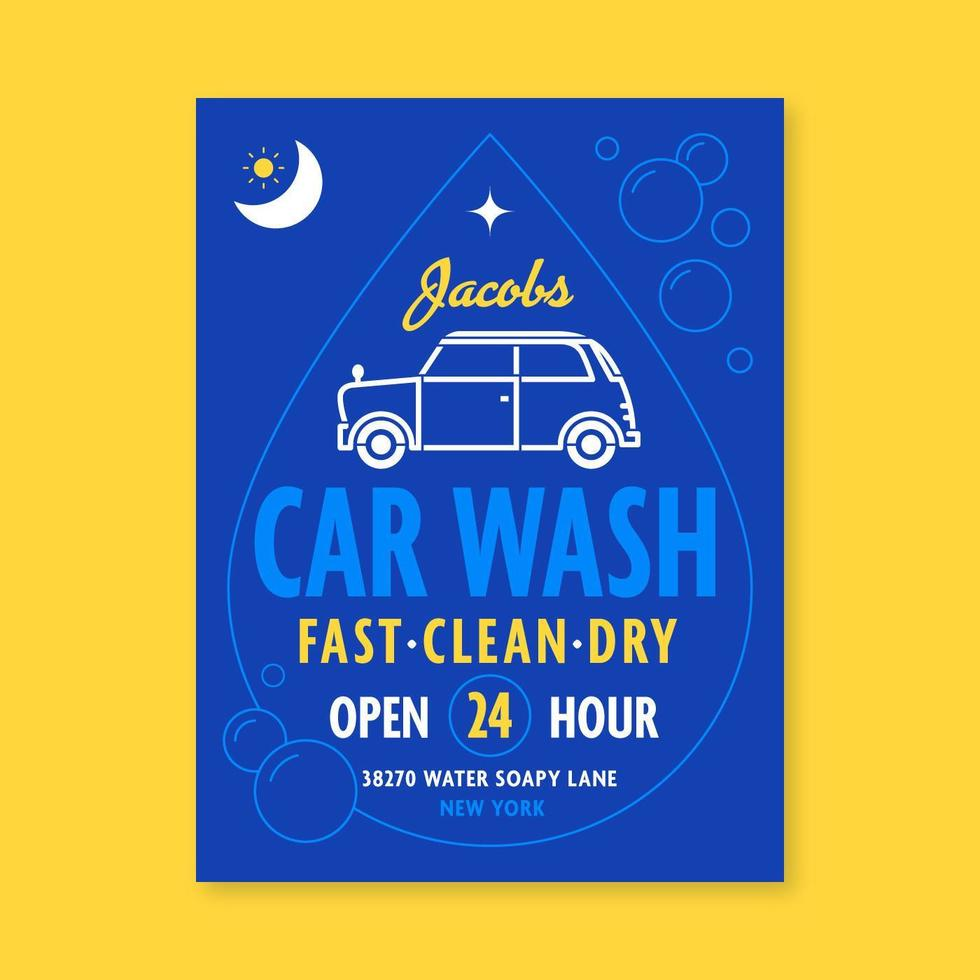 Blue Car Wash Sign Flyer Template vector
