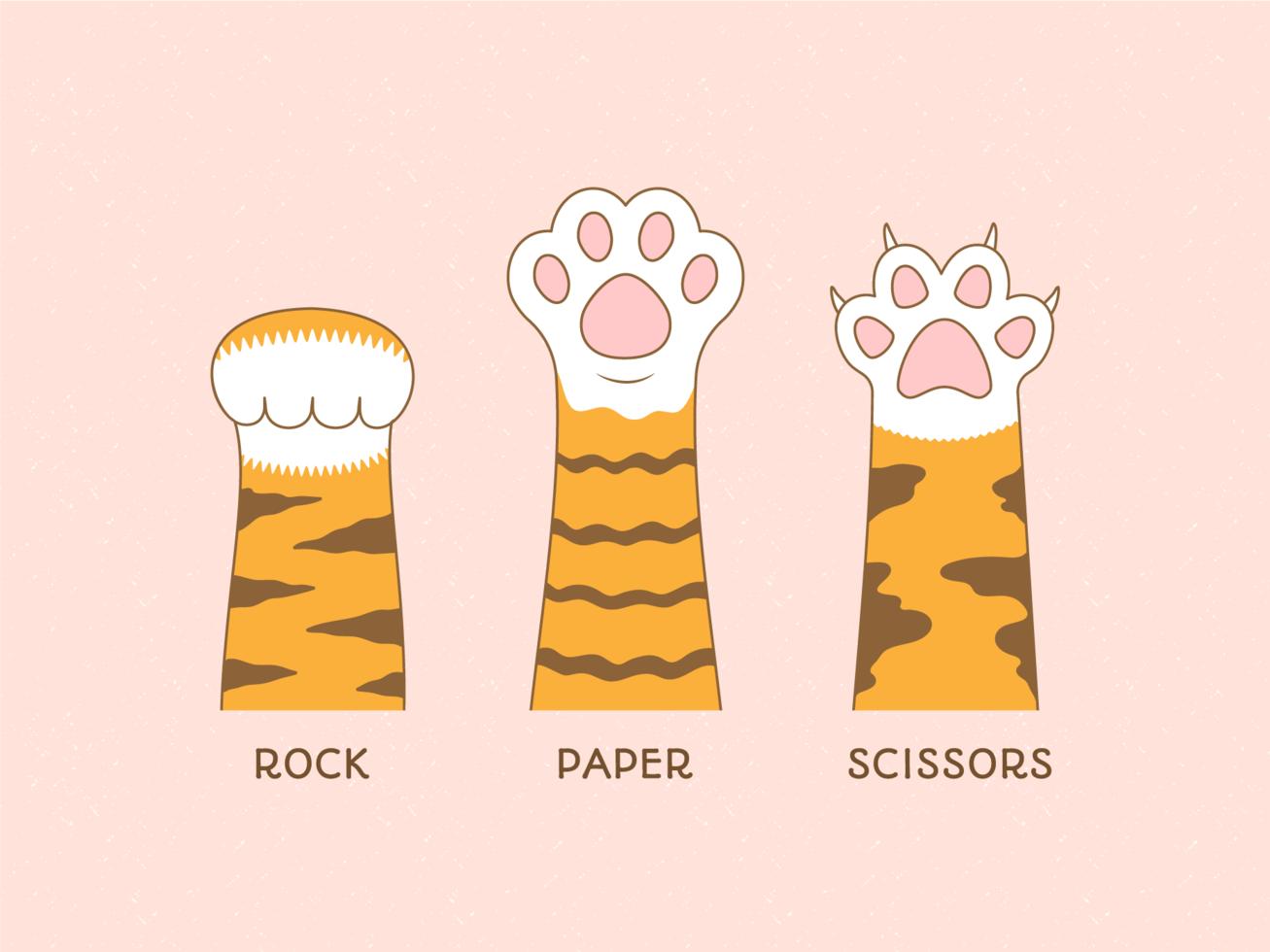 Segno di zampa di Rock Paper Scissors Game vettore