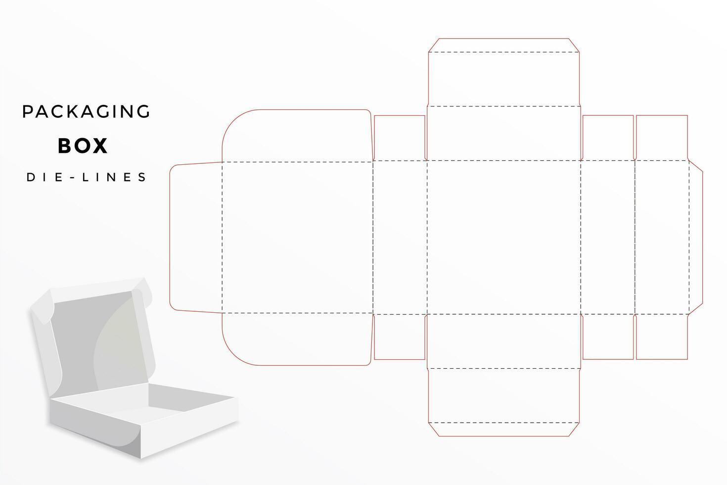 Modelo de corte e vinco de embalagens de caixa vetor