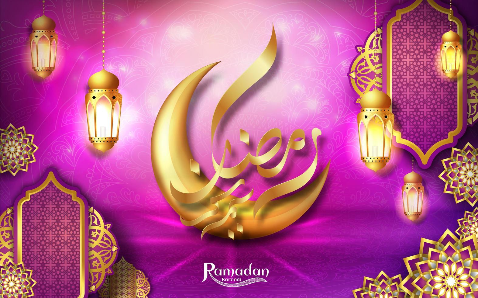 Diseño de tarjeta de felicitación rosa de Ramadan Kareem con luna dorada y linternas vector