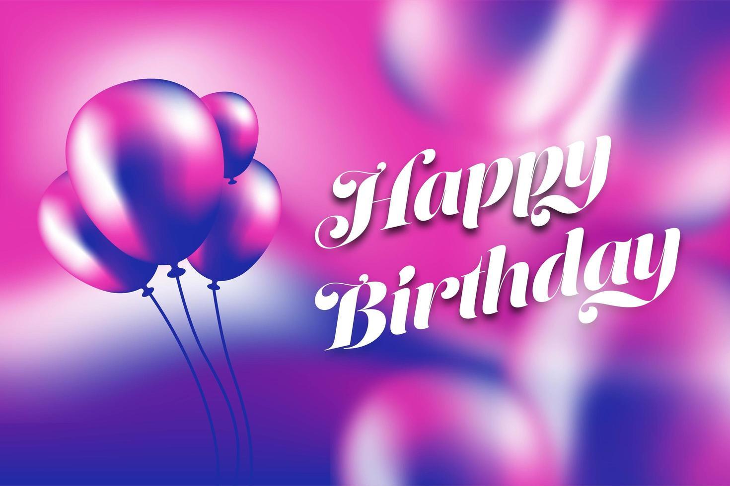 Feliz cumpleaños globo púrpura y rosa y cartel de degradado vector