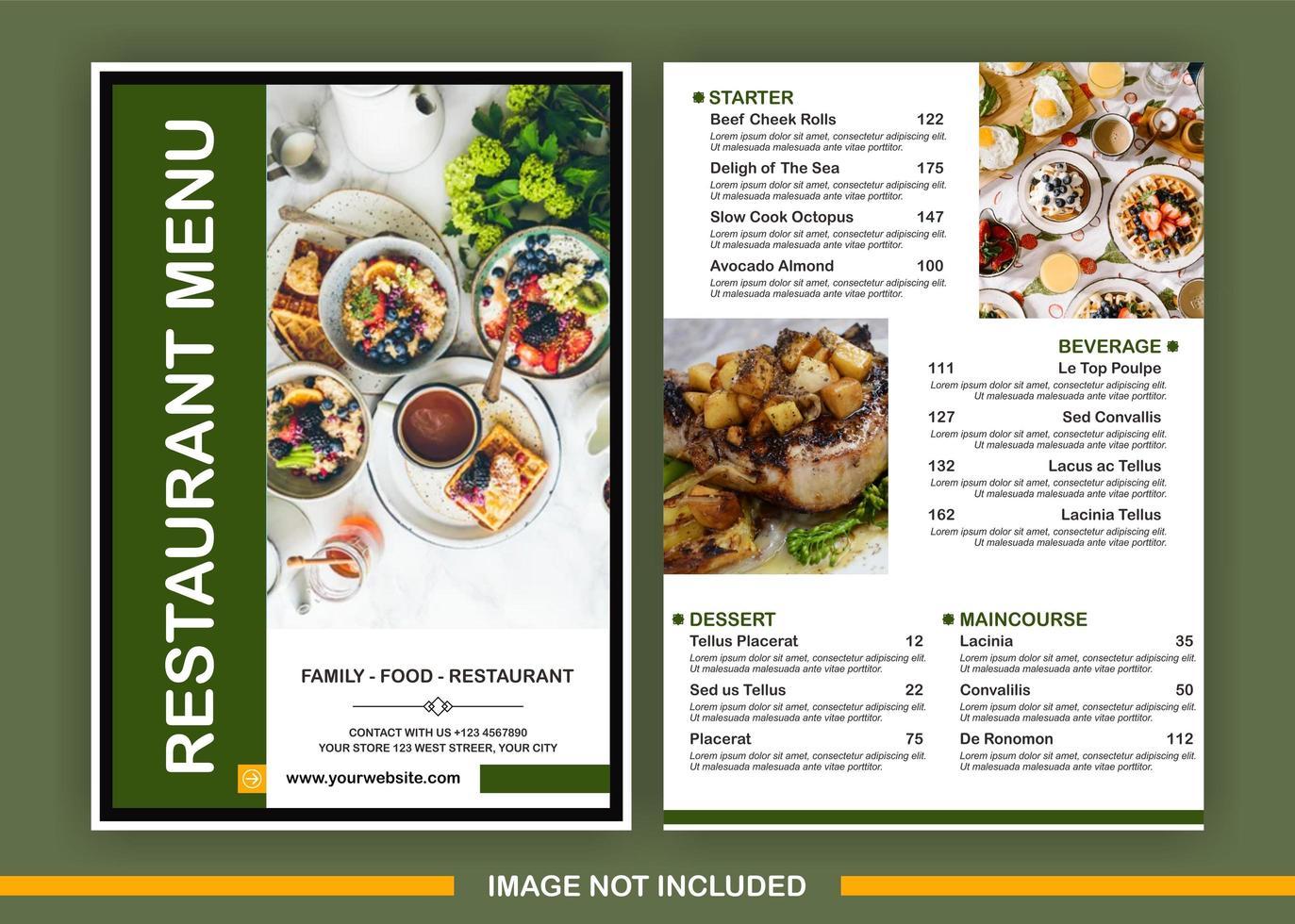 Plantilla de menú verde con espacio para 3 imágenes. vector