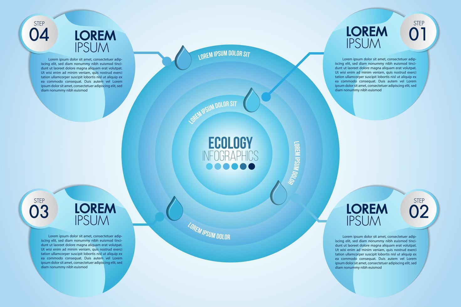 Infographic eco vattenblå cirkulär design med fyra steg eller alternativ vektor
